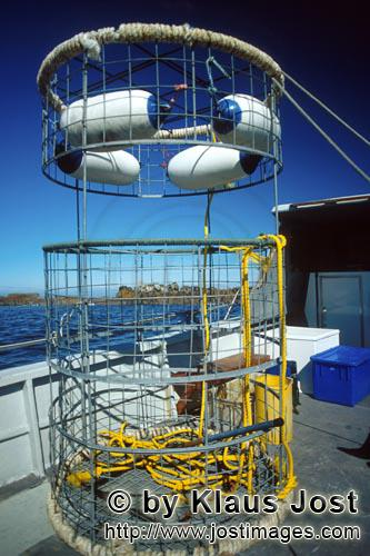 Dyer Island/Western Cape/South Africa        Shark cage on the boat