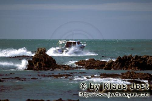 Dyer Island/Western Cape/South Africa        Diving boat from Andre Hartman on the way to Dyer Islan