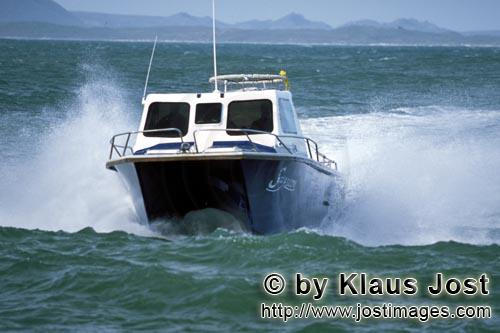 Dyer Island/Western Cape/South Africa        Diving boat from Andre Hartman in rough seas