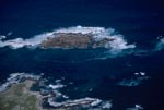 Aerial view Dyer Island, Shark Alley and Geyser Rock