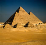 The pyramids of Menkaure, Khephren and Khufu at Giza