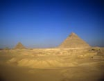 The pyramids of Khufu, Khephren and Menkaure at Giza