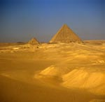 The pyramids of Khufu and Menkaure at Giza