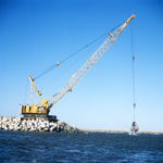 Dredging with Manitowoc 4600 on North Headland