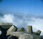 Dolosse in rough seas on North Breakwater