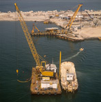 Crane barge with airlift activities